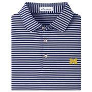 Peter Millar University of Michigan Navy/Gray Mills Stripe Performance Polo