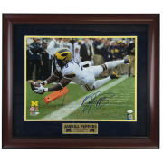 University of Michigan Football Framed Picture: Jabrill Peppers Leaping TD Catch Autographed Photo