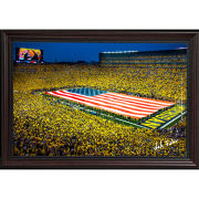 Dale Fisher University of Michigan Football Stadium Field-Size  American Flag (9/11/2021) Framed Canvas Photo