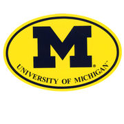 Pine University of Michigan Block M on Yellow Background Euro Decal