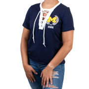 VS PINK University of Michigan Women's Navy Lace-Up Tee
