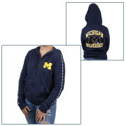 VS PINK University of Michigan Women's Navy ''Bling'' Perfect Full Zip Hooded Sweatshirt