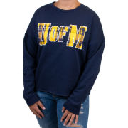 VS PINK University of Michigan Women's Navy Bling Drop Shoulder Crewneck Sweatshirt