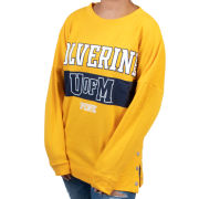 VS PINK University of Michigan Women's Yellow Side Snap Crewneck Tunic Sweatshirt