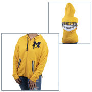 VS PINK University of Michigan Women's Yellow Drop Shoulder Full Zip Hooded Sweatshirt
