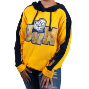 VS PINK University of Michigan Women's Navy/Yellow Hooded Tunic Sweatshirt