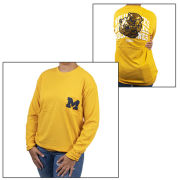 VS PINK University of Michigan Women's Yellow Long Sleeve College Vault Campus Bling Tee