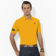 Polo Ralph Lauren University of Michigan Yellow Classic-Fit Mesh Polo