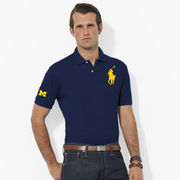 Polo Ralph Lauren University of Michigan Navy Classic-Fit Big Pony Mesh Polo