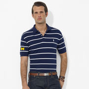 Polo Ralph Lauren University of Michigan Navy and White Striped Classic-Fit Polo