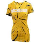Pressbox University of Michigan Women's Navy/Yellow Tie Dye Tee