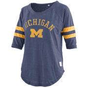 Pressbox University of Michigan Women's Heather Navy ''Jade'' 3/4 Sleeve Vintage Tee