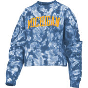 Pressbox University of Michigan Women's Navy Tie-Dye Comfy Corduroy Cropped Crewneck Sweatshirt
