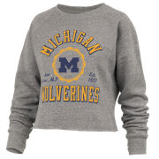 Pressbox University of Michigan Women's Heather Gray Bishop Knobi Cropped Crewneck Sweatshirt