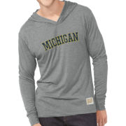 Retro Brand University of Michigan Streaky Gray Triblend Long Sleeve Hooded Tee