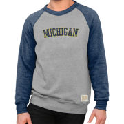 Retro Brand University of Michigan Gray/ Navy Triblend Raglan Crewneck Sweatshirt