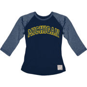 Retro Brand University of Michigan Ladies Gray/Navy Raglan Baseball Tee