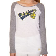 Retro Brand University of Michigan Women's White/ Heather Gray Vault Wolverine Long Sleeve Slub Raglan Tee