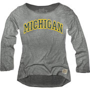 Retro Brand University of Michigan Women's Heather Gray Long Sleeve Boat Neck Relaxed Tee