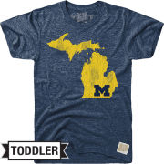 Retro Brand University of Michigan Toddler Navy Triblend State of Michigan Tee