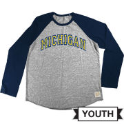 Retro Brand University of Michigan Youth Long Sleeve Baseball Raglan Tee