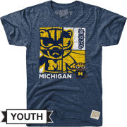 Retro Brand University of Michigan Youth Heather Navy Tokyodachi 2.0 Tee