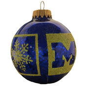 RFSJ University of Michigan Sparkle Wrap Navy Glass Ornament
