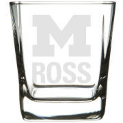 RFSJ University of Michigan Ross School of Business Square Double Old Fashion Rocks Glass