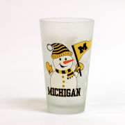RFSJ University of Michigan Frosted Snowman Pint Glass