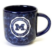 RFSJ University of Michigan Etched Cobalt Navy Marbled Coffee Mug