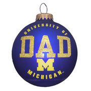 RFSJ University of Michigan Dad Navy Matte Glass Ornament