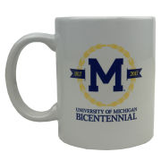 RFSJ University of Michigan Bicentennial Logo White Coffee Mug