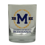 RFSJ University of Michigan Bicentennial Old Fashioned Rocks Glass