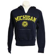 Step Ahead University of Michigan Ladies Navy Slitneck Seal Hooded Sweatshirt