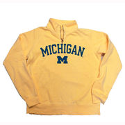 Blue84 University of Michigan Ladies Butter 1/4 Zip Sweatshirt Distressed Lettering