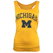 Blue84 University of Michigan Ladies Gold Burnout Pocket Tank Top