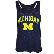 Step Ahead University of Michigan Ladies Navy Burnout Pocket Tank Top