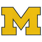 SDS University of Michigan 12'' Yellow Block ''M'' Logo Ultra Durable Dizzlers Decal