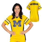 Sarah Harbaugh Collection by Valiant University of Michigan Yellow Mesh Practice Jersey