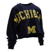Spirit Jersey University of Michigan Women's Navy Raw Hem Cropped Spirit Jersey