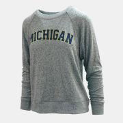Spirit Jersey University of Michigan Women's Gray Brushed Raglan Pullover Crewneck Sweatshirt