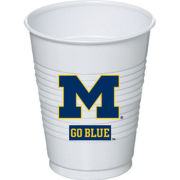 Set of 8 Plastic University of Michigan Party Cups