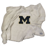 Summit University of Michigan Putty Sherpa Throw Blanket