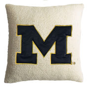Summit University of Michigan Putty Sherpa Throw Pillow