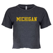 Summit University of Michigan Women's Denim Jade Cropped Tee