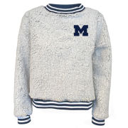 Summit University of Michigan Women's Putty Sherpa Crewneck Sweatshirt with Striped Trim