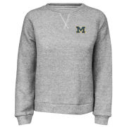 Summit University of Michigan Women's Gray Coastal Terry Cloth Cropped V-Notch Crewneck Sweatshirt