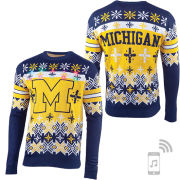 Valiant University of Michigan Light Up Festive Holiday Sweater with Bluetooth Speaker