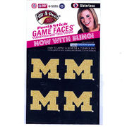 Game Faces University of Michigan Glitter Block M Temporary Tattoos