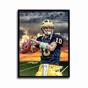 Team Spirit Store University of Michigan Football Tom Brady Sunset Poster